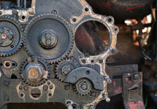 Old dirty disassembled gear box Stock Photos