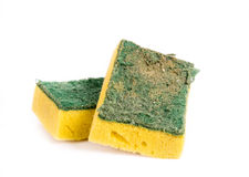 Old and Dirty Dish washing sponge. On White Backgrounnd Stock Photos