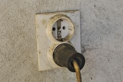 Old and dirty electrical outlet. Energy plastic object power electricity background technology socket wall connection white equipment plug house home danger royalty free stock photography