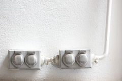 Old dirty electrical outlets Royalty Free Stock Images