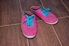 Old dirty fabric moccasins Stock Image