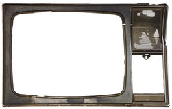 Old dirty frame of broken TV Stock Images