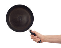 Old and dirty frying pan isolated Stock Image