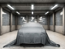 Old dirty garage with car. Covered with cloth. 3D illustration Stock Photo