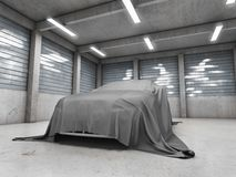 Old dirty garage with car vector illustration