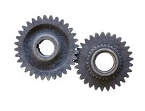 Old dirty gear wheels with clipping path included. Old dirty gear wheels isolated on white background with clipping path included stock photos