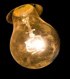 Old dirty glowing bulb royalty free stock images