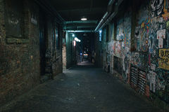 Old dirty grunge street in night Royalty Free Stock Photography