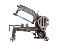 Old dirty hacksaw machine industry tool. Isolated. Stock Image