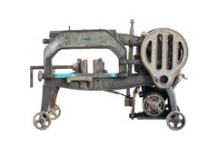 Old dirty hacksaw machine industry tool. Isolated. Royalty Free Stock Photos