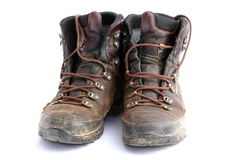 Old dirty hiking boots Royalty Free Stock Image