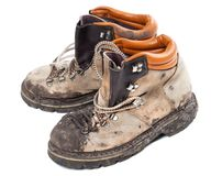 Old dirty hiking boots Stock Image