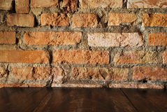 Old dirty interior with brick wall, vintage background Stock Photo
