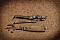 Old and dirty kitchen tools on grunge Royalty Free Stock Photography