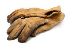 Old Dirty Leather Work Gloves Stock Photos
