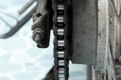 Old dirty motorcycle chain. Stock Image