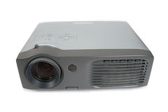 Old dirty Multimedia projector. On white royalty free stock photos