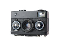 Old, dirty old-fashioned film camera. Isolated with white back ground Stock Photo