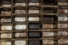 Old dirty oven baking tray. Loaf empty baking tin royalty free stock photos