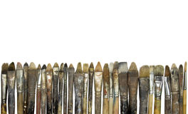 Old Dirty Paintbrushes Stock Photo
