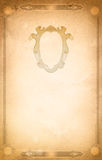 Old dirty paper background with vintage border and frame. Stock Photos