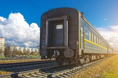 Old dirty Passenger Train Cars on station in Russia. Old dirty Passenger Train Cars on station in Russia Royalty Free Stock Photo