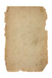 Old and dirty piece of paper. Torn piece of paper isolated on white Royalty Free Stock Image