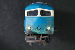 The old and dirty plastic model of train represent the model tra Royalty Free Stock Photos