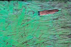 The old dirty plywood. On green paint background Stock Image