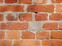 Old and dirty red brick back ground. The abstract photo of the old and dirty red brick wall royalty free stock photo