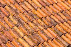 Old and dirty red roof tiles Stock Photography