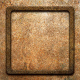 Old, dirty, rusty metal plate with frame Stock Photo