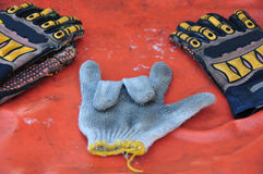 Old or dirty safety gloves on the works Royalty Free Stock Images