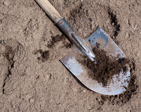 Old dirty shovel on the dry ground Royalty Free Stock Image