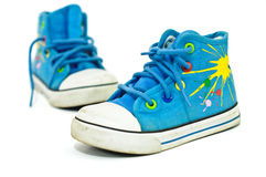 Free Old, Dirty Sneakers Kids Over White Background Stock Images - 16886874
