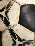 Old dirty soccer ball detail close-up. Macro Stock Photos