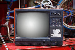 Old & Dirty Television. Closeup of Old & Dirty Television royalty free stock photography