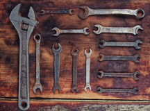 Old dirty tools on table Stock Image