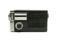 Old dirty transistor radio isolated on white background. Stock Photo