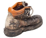 Old dirty trekking boot Royalty Free Stock Photography