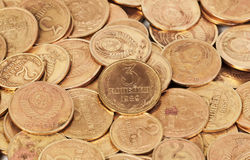 Old  dirty USSR coins closeup Stock Image