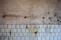 Old dirty wall whitewashed at the top and tiled at the bottom Royalty Free Stock Image