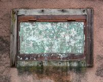 Old dirty window frame and wall. Royalty Free Stock Image