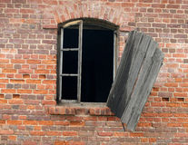 Old dirty window on wall. Old dirty window on old dirty wall Stock Photo