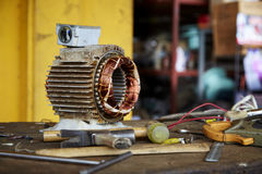 Old disassembled electric motor Royalty Free Stock Image
