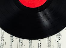 Old disc on Musical notes paper Royalty Free Stock Images