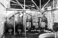 Old Disgusting Bathroom in Abandoned Factory I Stock Photos