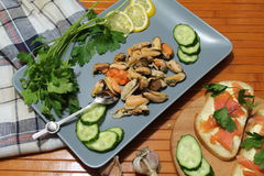 An old dish with mussels, slicing cucumbers Royalty Free Stock Photos