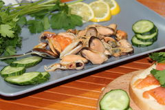 An old dish with mussels, slicing cucumbers Stock Photography