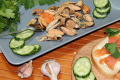 An old dish with mussels, slicing cucumbers Royalty Free Stock Photography